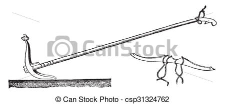 Stock Illustration of Ceylon with his plow yoke, vintage engraving.