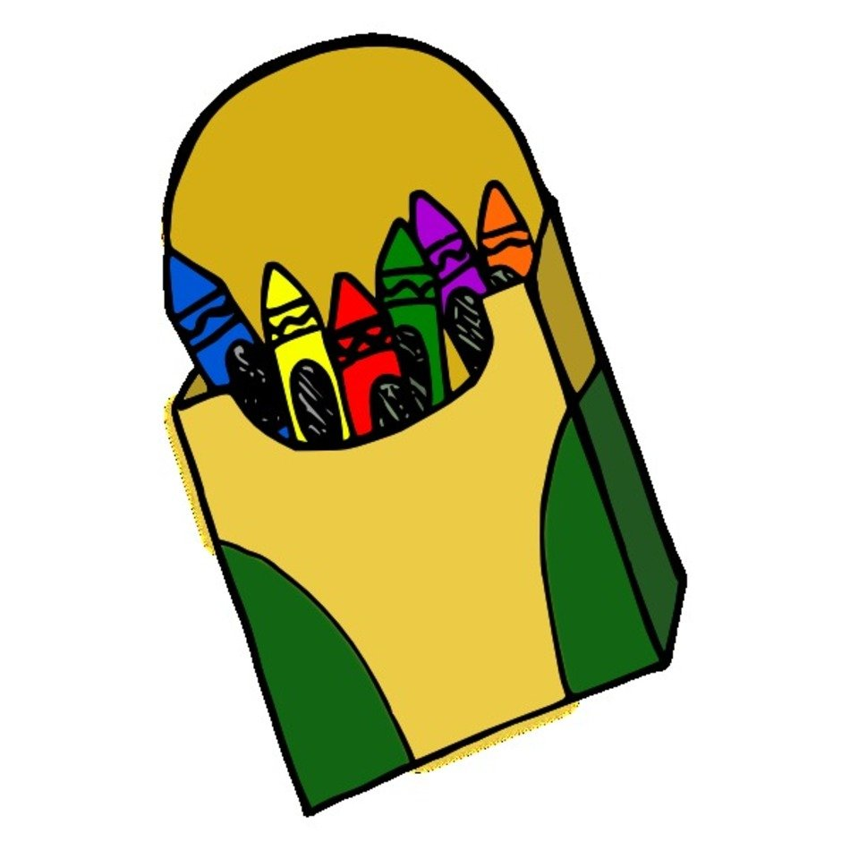 Box with the colorful crayons clipart free image.