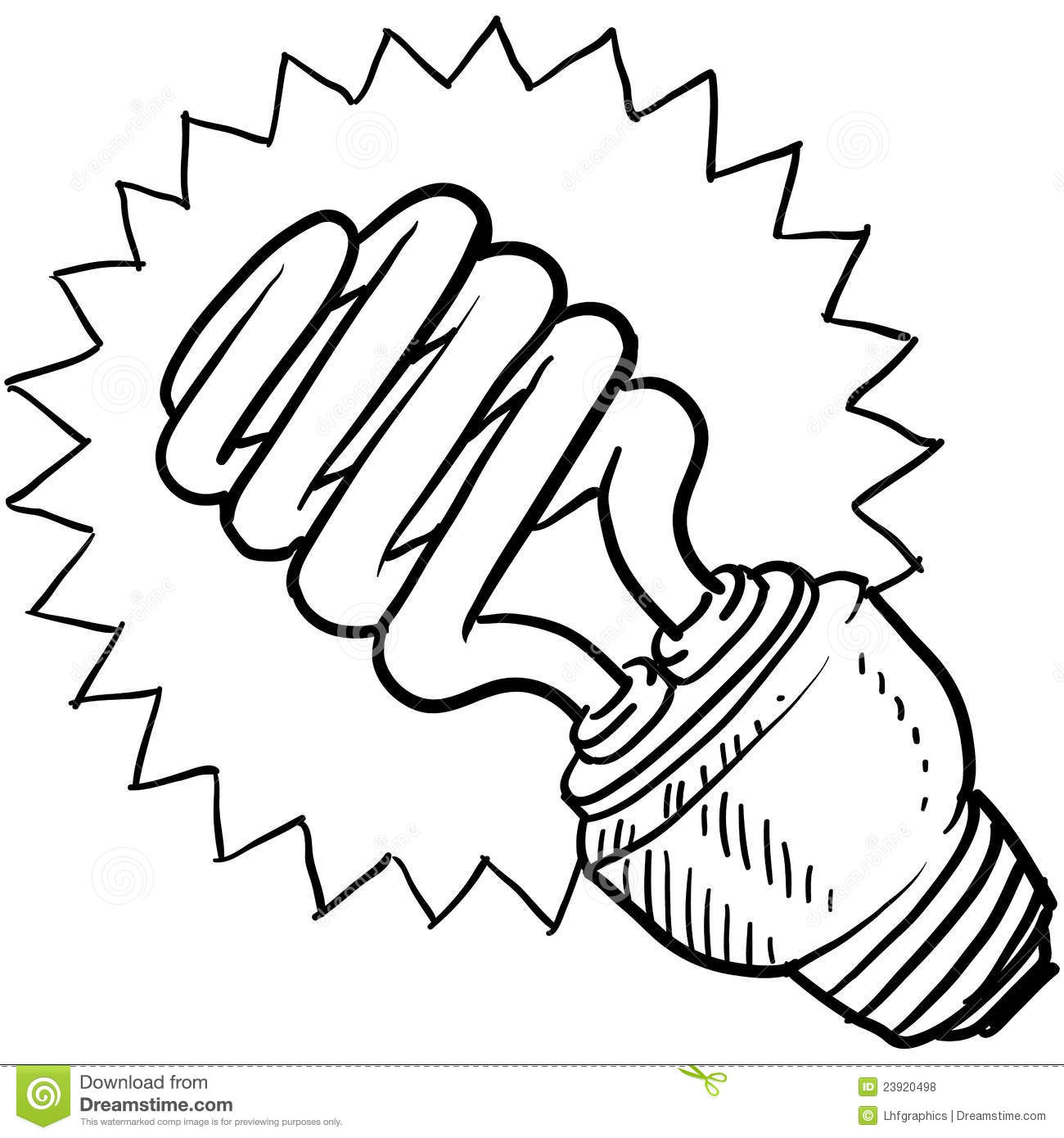 Compact Fluorescent Light Bulb Sketch Royalty Free Stock Photos.