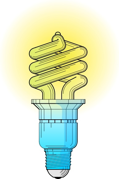 Compact Fluorescent Light Bulb clip art Free vector in Open office.