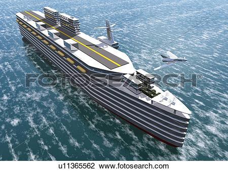Clip Art of Imaginary big ship, Illustration, CG, High Angle View.