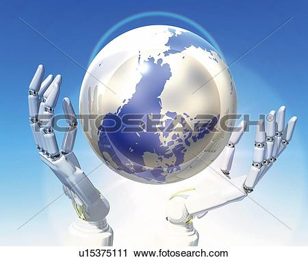 Clipart of Robot's hands and globe, CG, 3D, Illustration, Close Up.