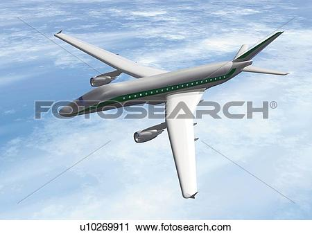 Clipart of Imaginary airplane, Illustration, CG, Close Up, High.