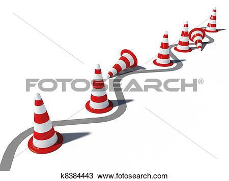 Drawing of traffic cones wrong way 3d cg k8384443.