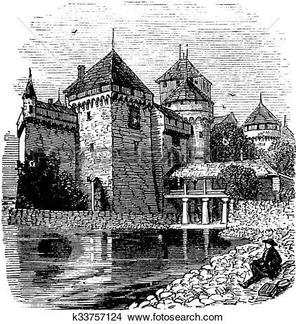 Clipart of Chillon Castle or Chateau de Chillon in Veytaux.