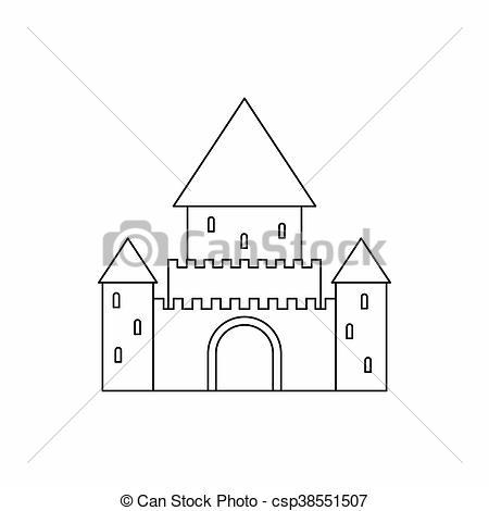 Illustration de Style, contour, CHILLON, Suisse, icône, château.