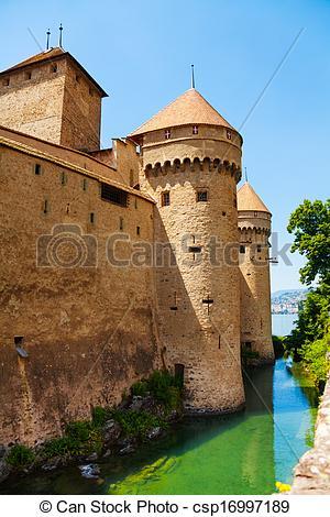 Images de tours, château, CHILLON, murs.