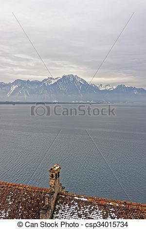 Photos de château, CHILLON, Lac, Genève, vue.