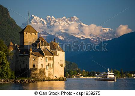 Stock Images of Chillon Castle.