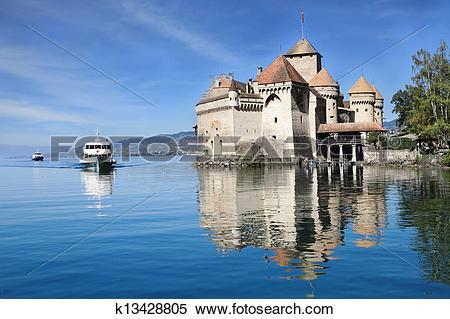 Stock Image of The Château de Chillon on Lake Geneva k13428805.