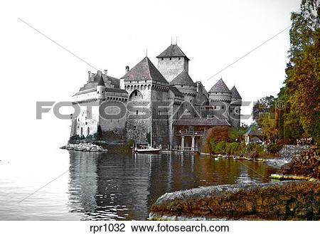 Stock Photo of Chateau de Chillon castle on Lake Geneva.