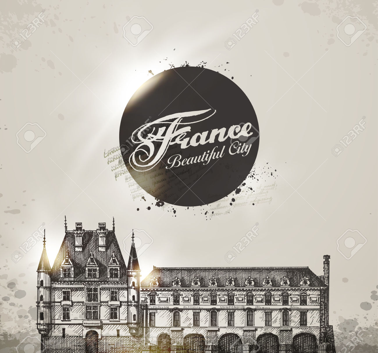 Chateau De Chenonceau, Loire Valley, France. Vector Illustration.
