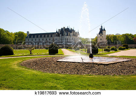 Stock Photo of Chateau de Chenonceau backlighted k19817693.