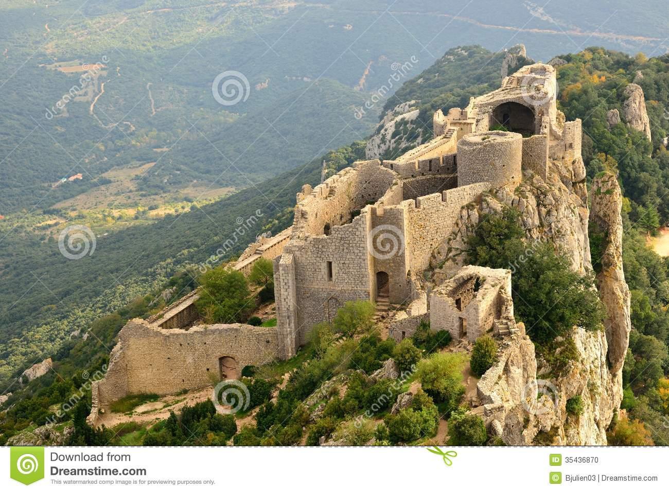 Peyrepertuse Cathar Castle Seen From Above Stock Photo.