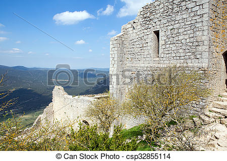 Stock Photography of Peyrepertuse castle in French Pyrenees.