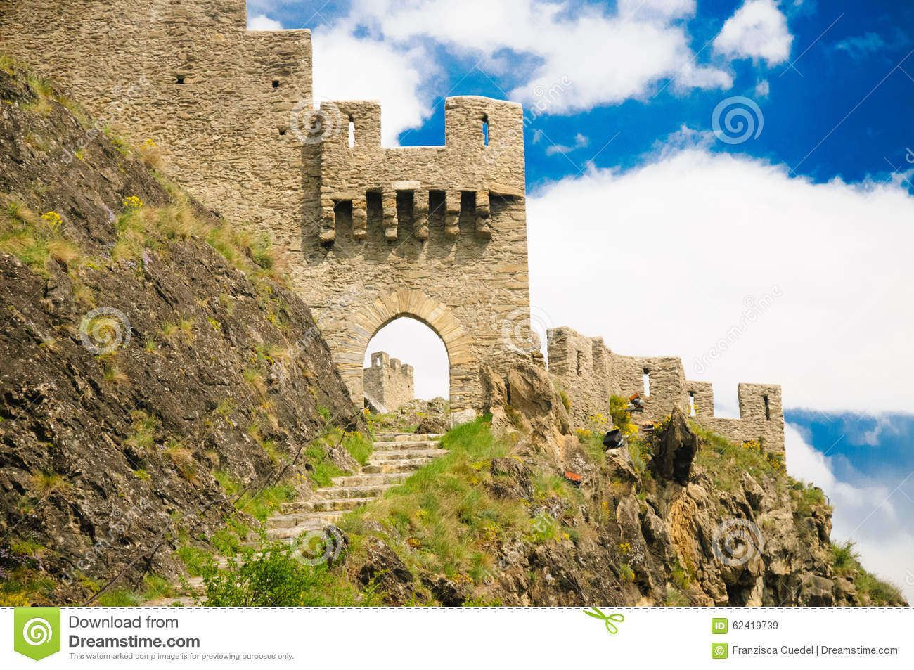 Tourbillon Castle / Chateau De Tourbillon Stock Photo.