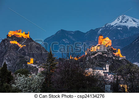 Photo de Suisse, tourbillon, château, Sion.