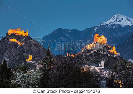 Photo de Suisse, tourbillon, château, Sion.
