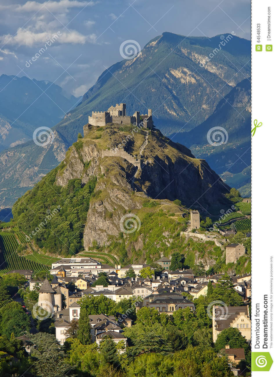 The Medieval Castle Tourbillon And The Town Of Sion Switzerland.