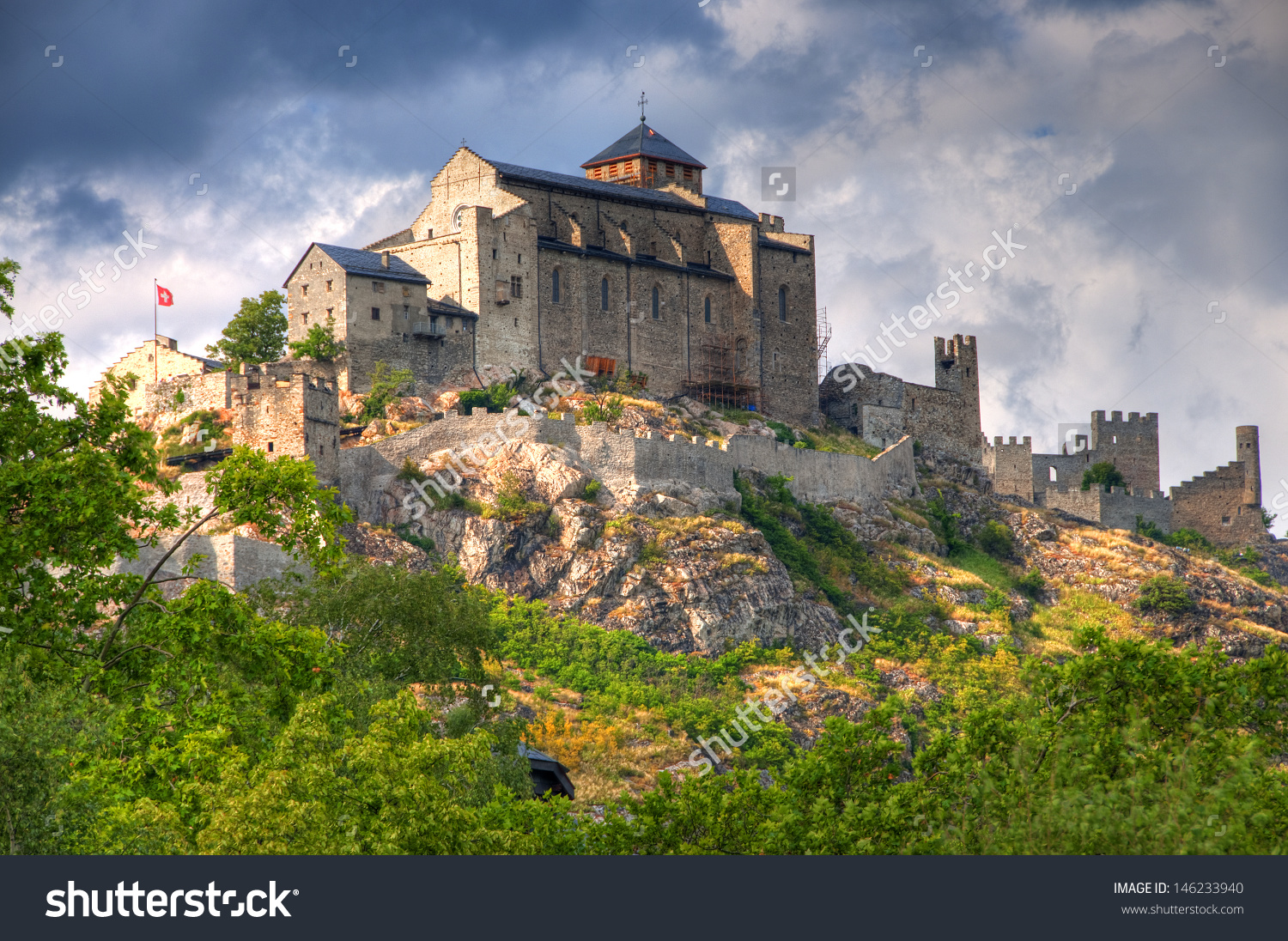 Valere Basilica Tourbillon Castle Sion Switzerland Stock Photo.