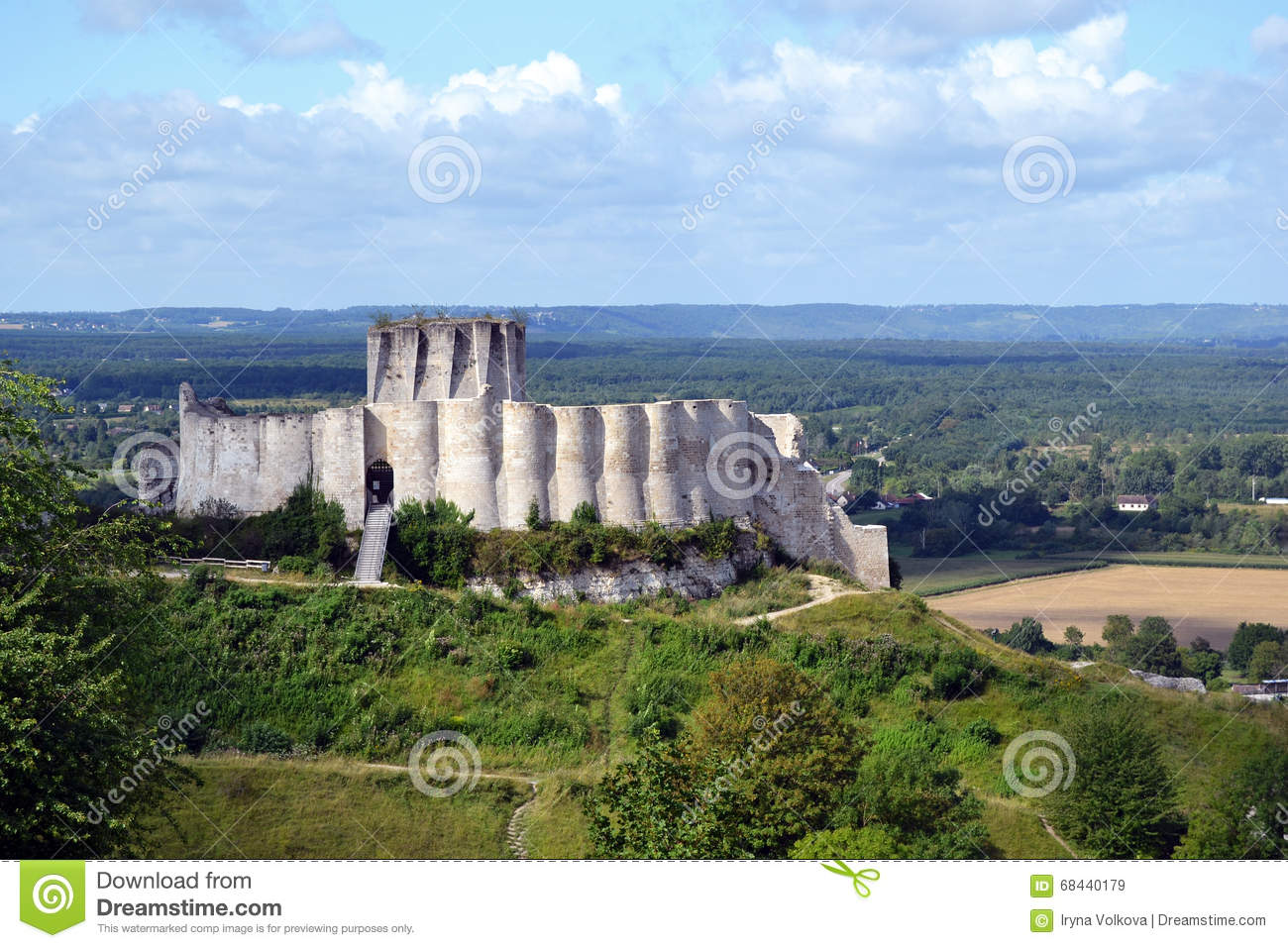 Chateau Gaillard Castle Remains Stock Photo.