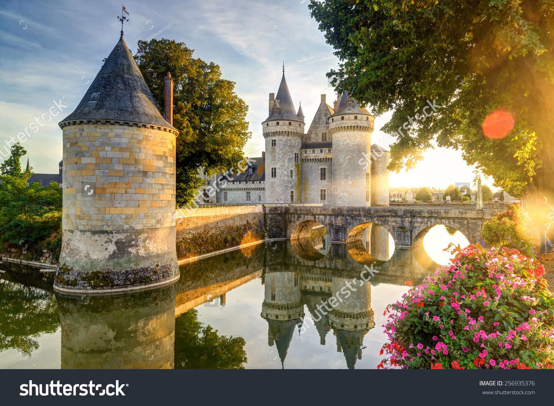 Chateau Sullysurloire Sunlight Lens Flare France Stock Photo.