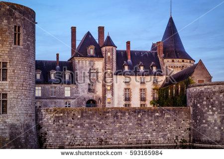 Chateau Sullysurloire Sunset France This Castle Stock Photo.