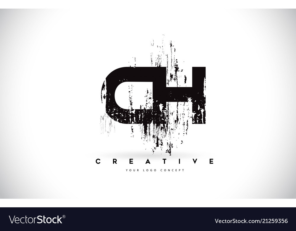 Ch c h grunge brush letter logo design in black.