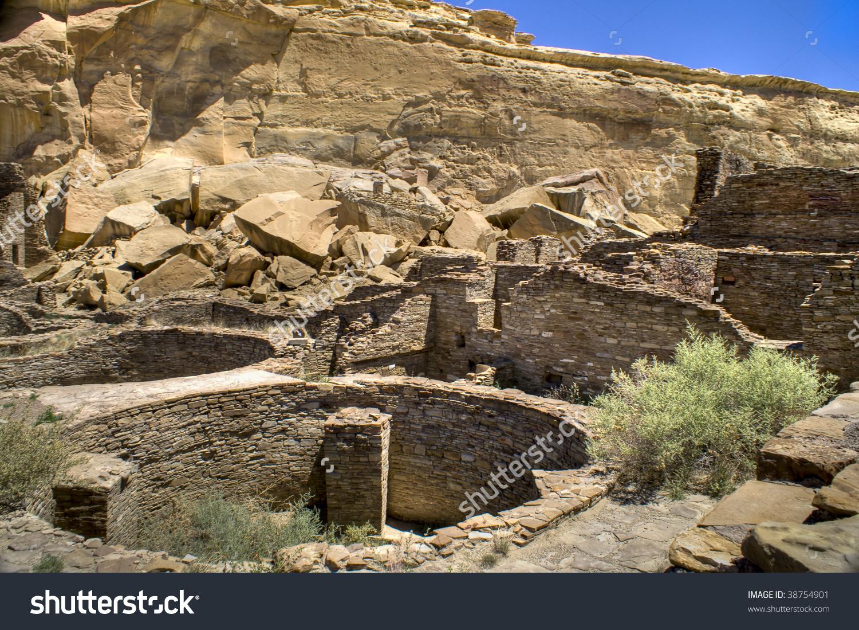 Ancient Ruins At Chaco Canyon, New Mexico Stock Photo 38754901.