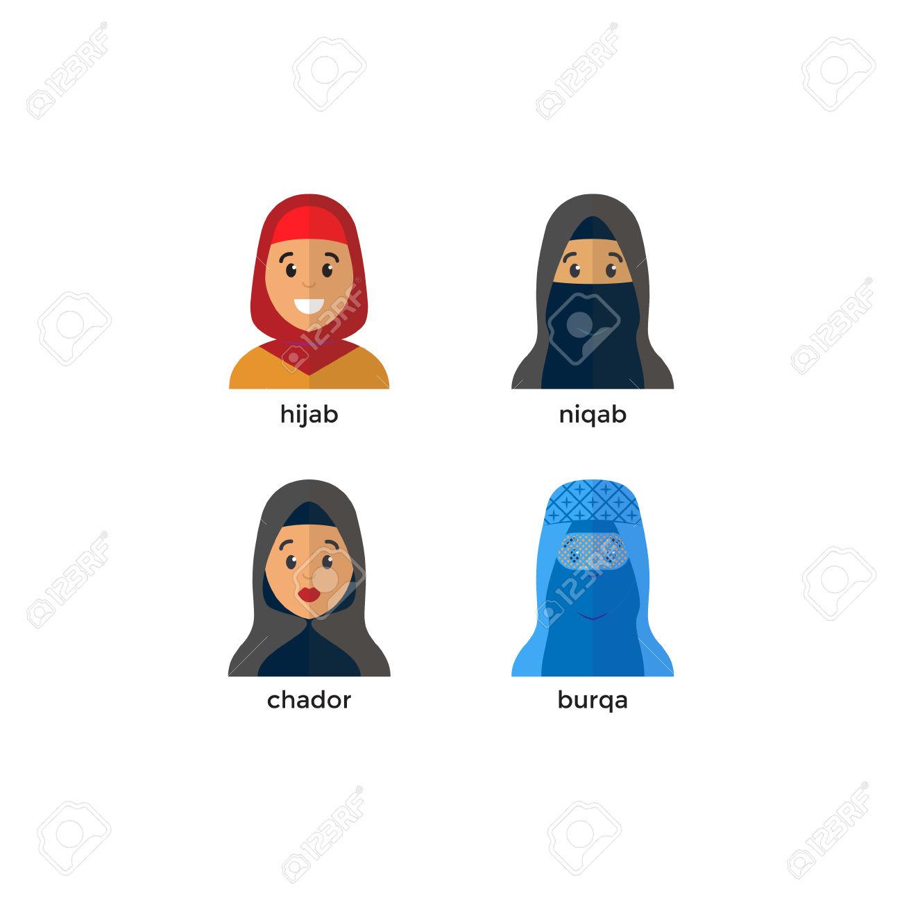 Stylish Muslim Headwear Icon: Hijab, Niquab, Chador, Burqa. Muslim.