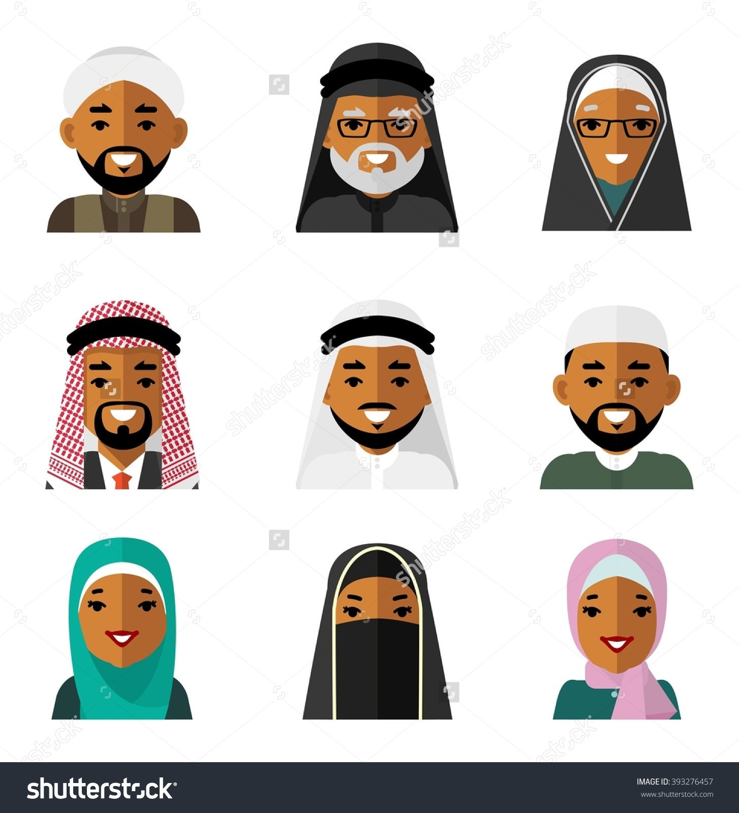Muslim Arab People Characters Avatars Icons Stock Vector 393276457.