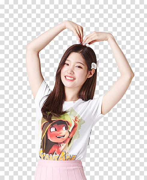 CHAEYEON DIA, woman doing heart pose transparent background.