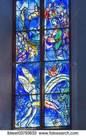 """Stock Photo of """"Glass windows by Marc Chagall, east choir, St."""