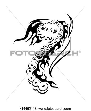 Clip Art of black and white tattoo bicycle chai k14462118.