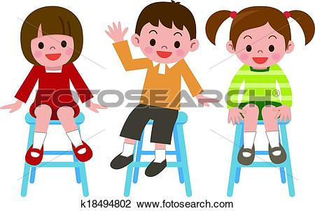 Clipart of Children smile is sitting in a chai k18494802.