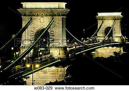 Stock Photograph of Szechenyi chain bridge budapest ie083.