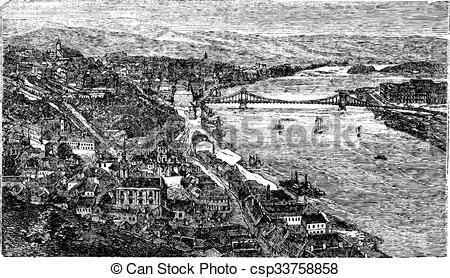 Clipart Vector of Chain Bridge, suspension bridge, Budapest.