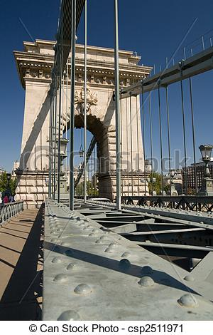 Clipart of chain bridge in Budapest view of steel and stone.