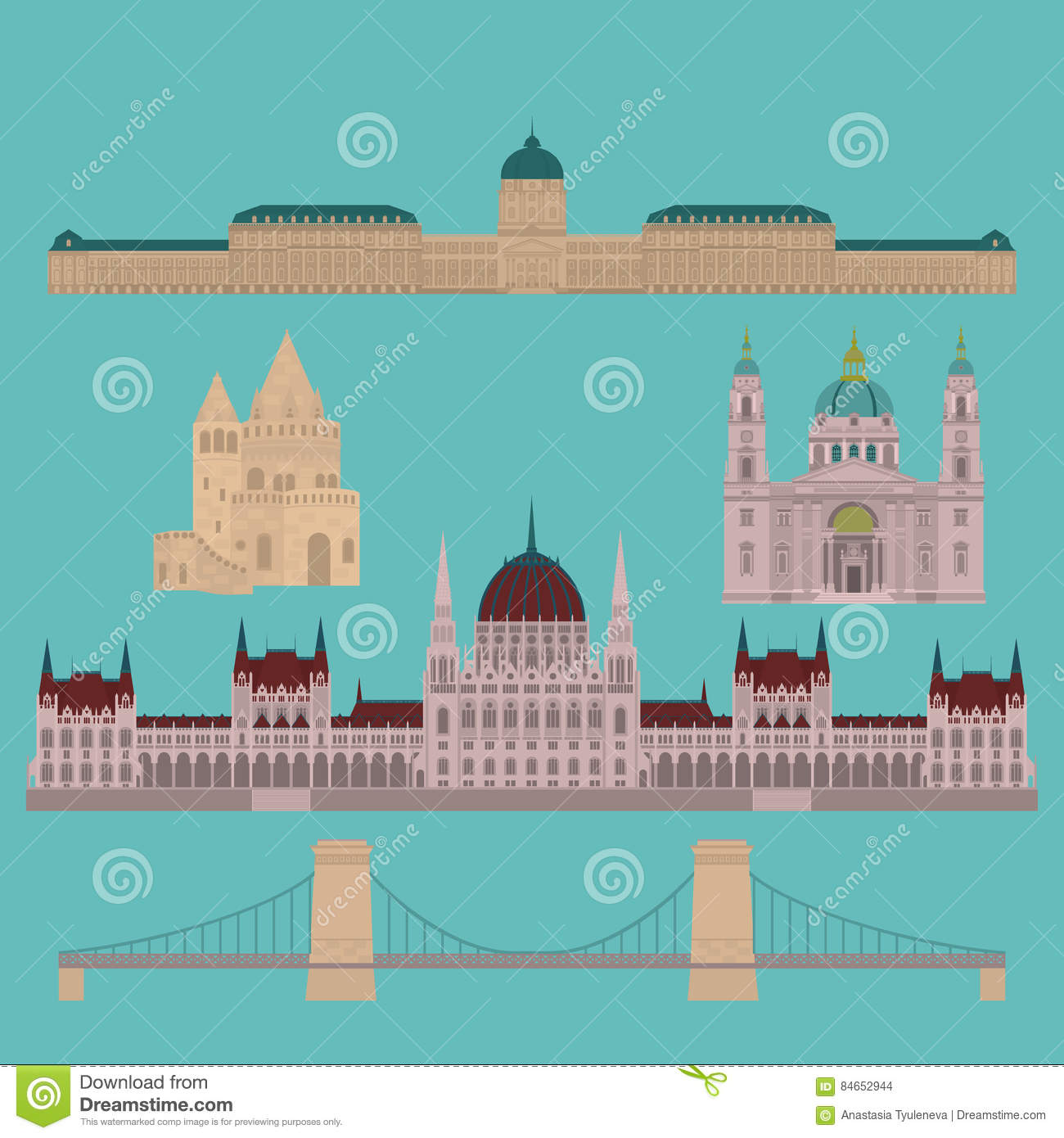 Hungarian City Sights In Budapest. Hungary Landmark Travel And.