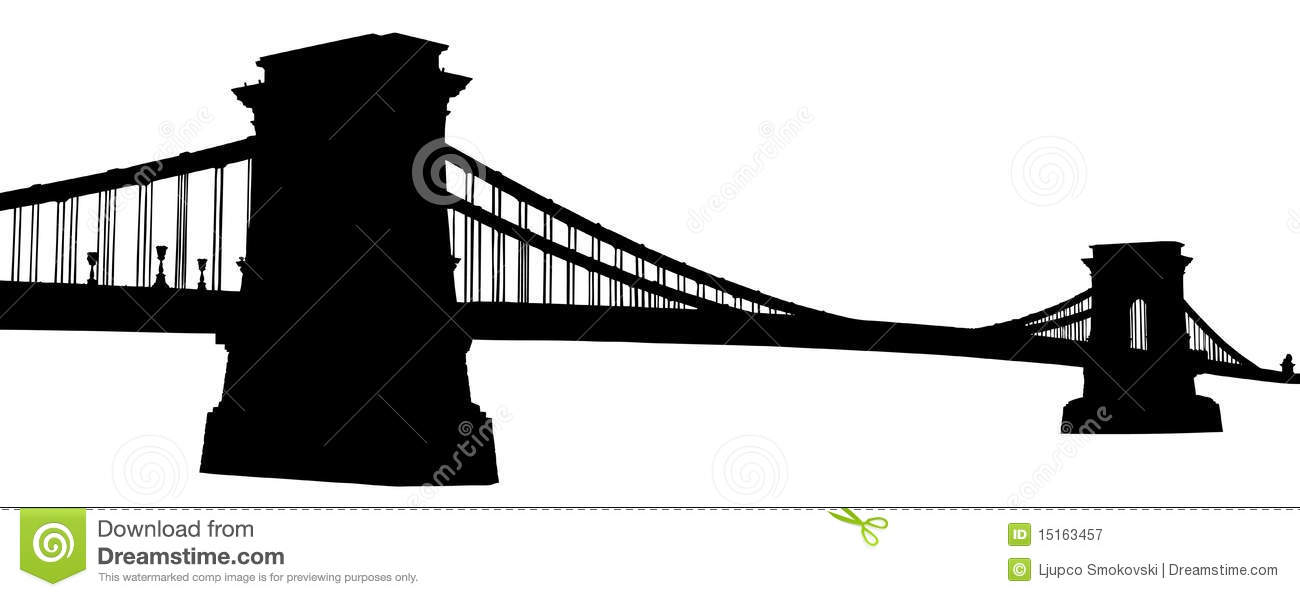 A Silhouette Of A Chain Bridge In Budapest Royalty Free Stock.