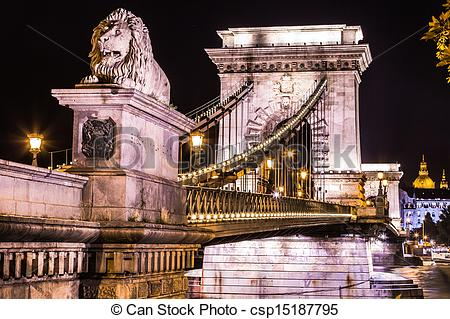 Stock Photographs of City of Budapest in Hungary night urban.