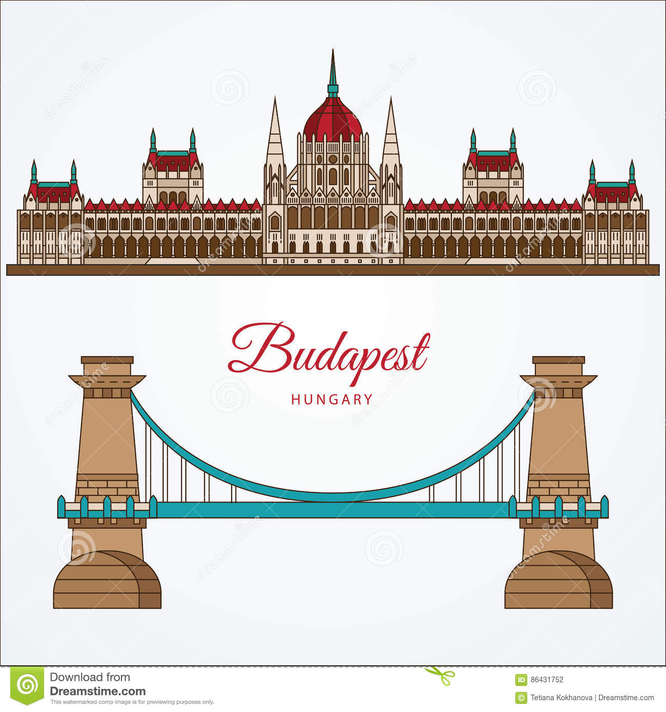 Hungarian Parliament Building And The Chain Bridge. The Symbol Of.