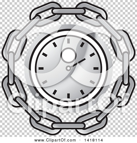 Clipart of a Silver Wall Clock in a Chain Circle.