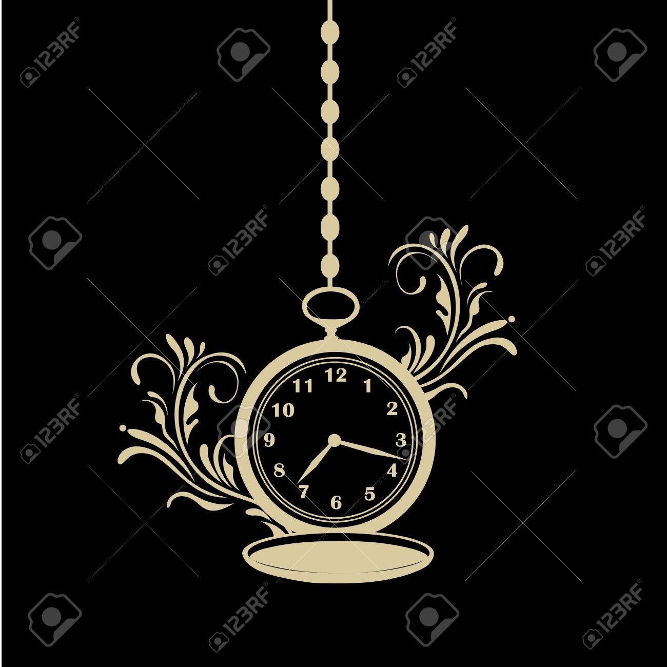 Une Silhouette D'une Horloge De Poche Avec Une Chaîne Et Un Motif.