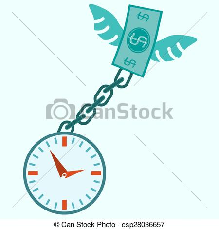 Clipart Vector of clock locked, fly money and chain. Businessman.