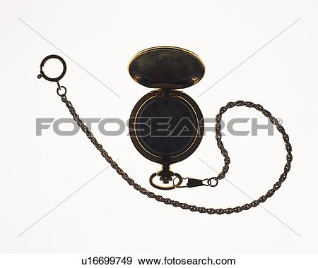 Stock Photograph of Silhouette of clock with chain, front view.