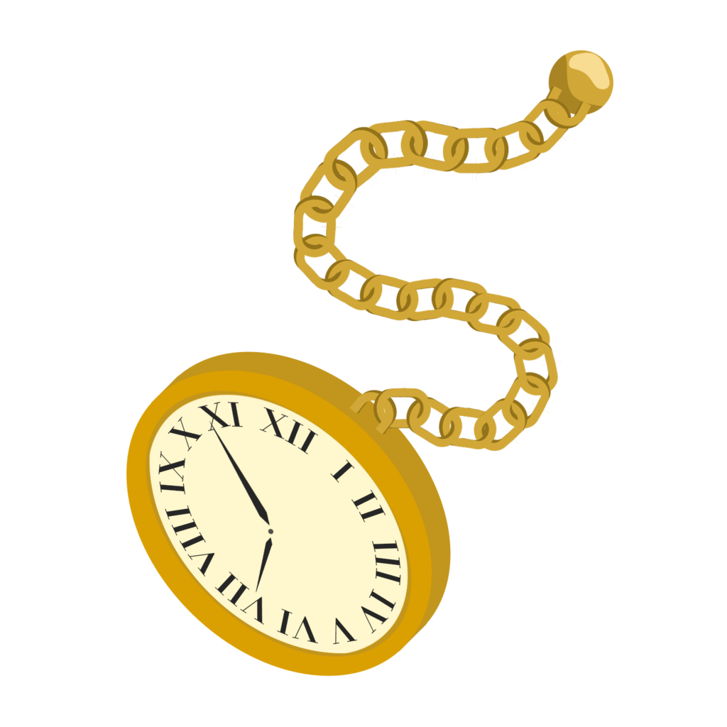Pocket watch with chain clipart.