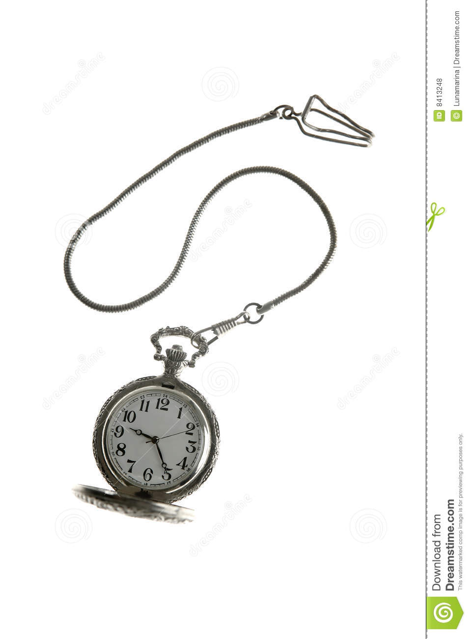 Old Silver Pocket Watch Clock With Chain Royalty Free Stock Photos.