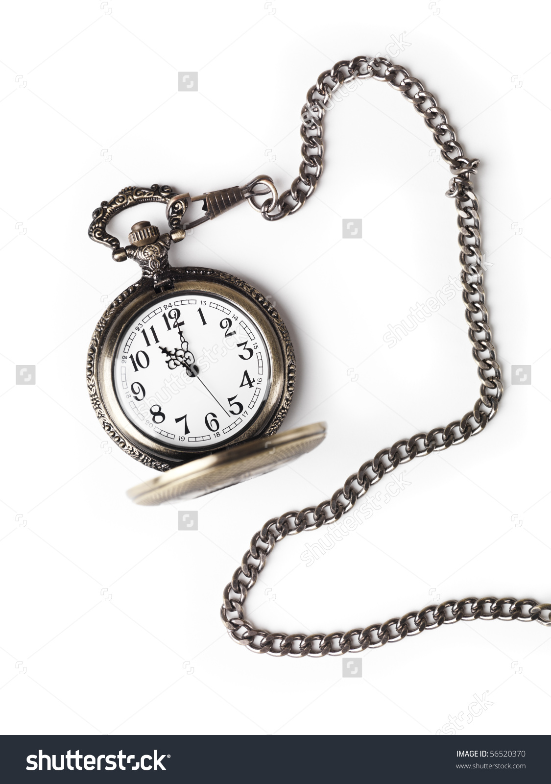 Antique Pocket Watch On Chain Open Stock Photo 56520370.