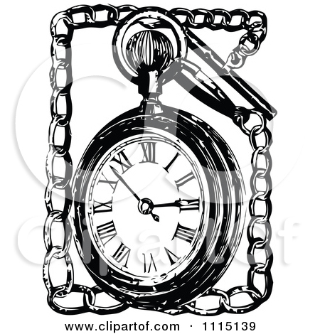 Clipart Vintage Black And White Pocket Watch And Chain.